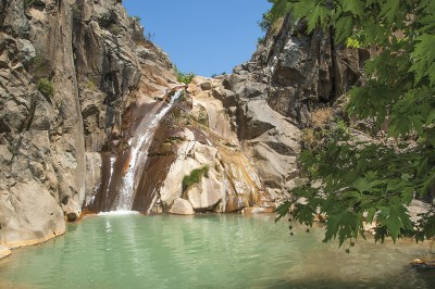 Vathylimno: The waterfall in the summer